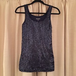 Navy Blue Sequined Tank Top